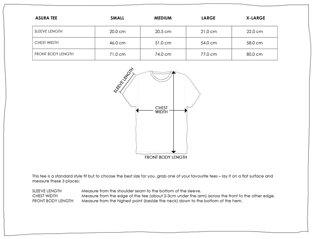 ASURA TEE SIZE GUIDE