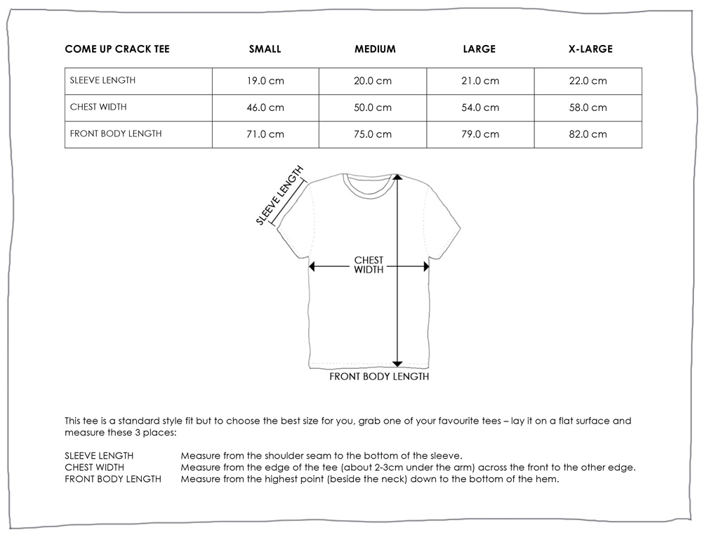 COME UP CRACK TEE SIZE GUIDE