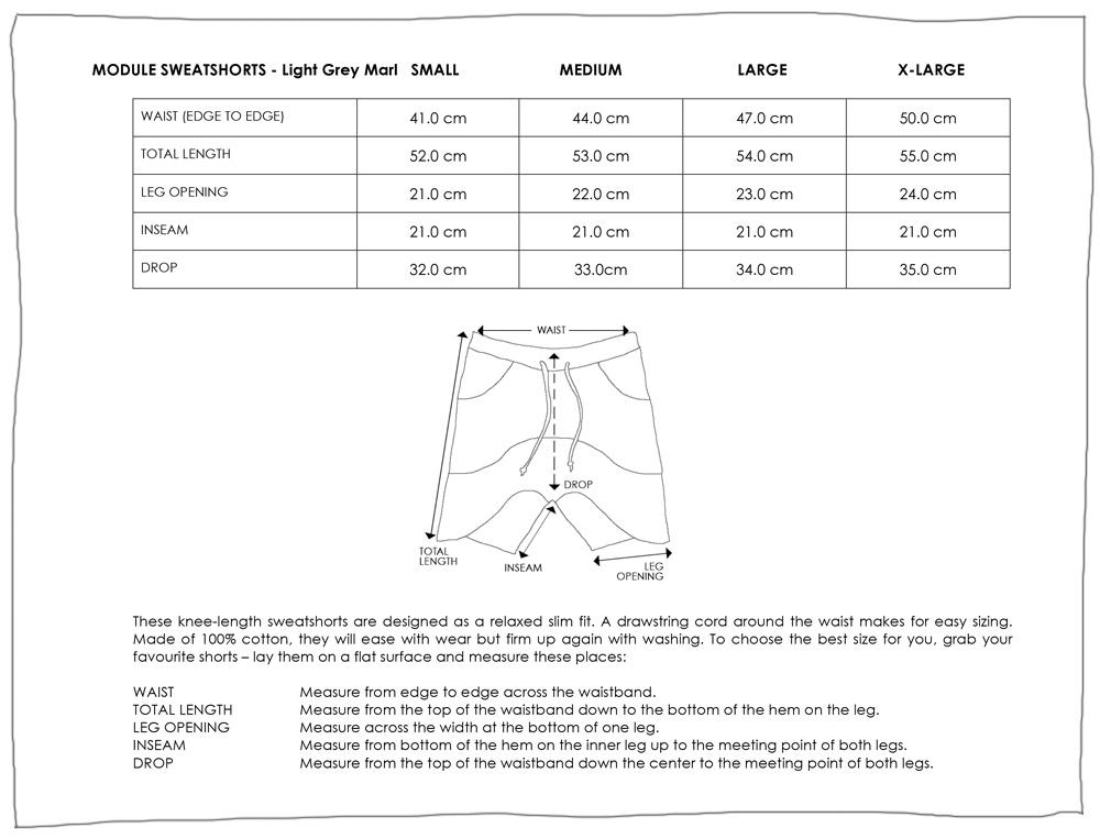 MODULE SWEATSHORTS LIGHT GREY MARL SIZE GUIDE