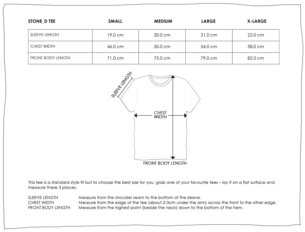 STONED TEE SIZE GUIDE