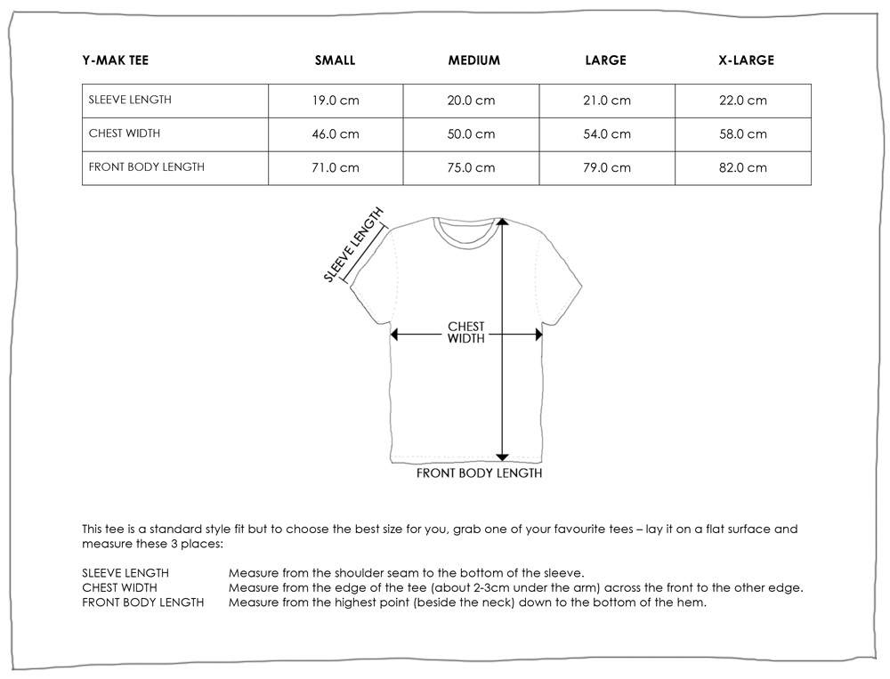 YMAK TEE SIZE GUIDE